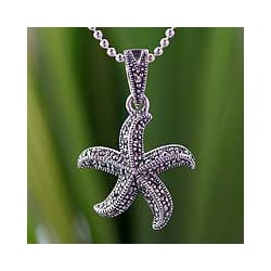 Sterling Silver 'Starfish Dance' Marcasite Necklace (Thailand)