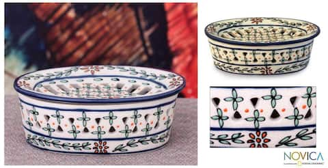 Handcrafted Ceramic 'Morning Bouquet' Soap Dish (Mexico)