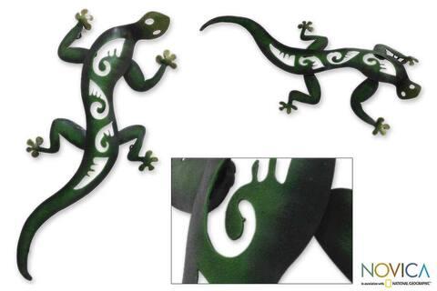 Handmade Iron 'Mexican Gecko' Wall Sculpture (Mexico)