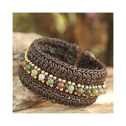 Handmade Agate 'Thai Supreme' Cuff Bracelet (Thailand)