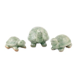 Set of 3 Celadon Ceramic 'Lucky Turtles' Sculptures , Handmade in Thailand