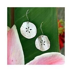 Sterling Silver 'Fossil Flower' Flower Earrings (Mexico)