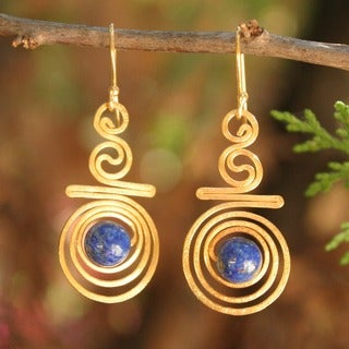 Follow the Dream Bohemian Blue Lapis Lazuli Gemstones in 24K Gold Plate Spirals Womens Long Dangle Earrings (Thailand)