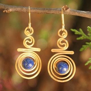 Follow The Dream Bohemian Blue Lapis Lazuli Gemstones In Gold Plate Spirals Womens Long Dangle E