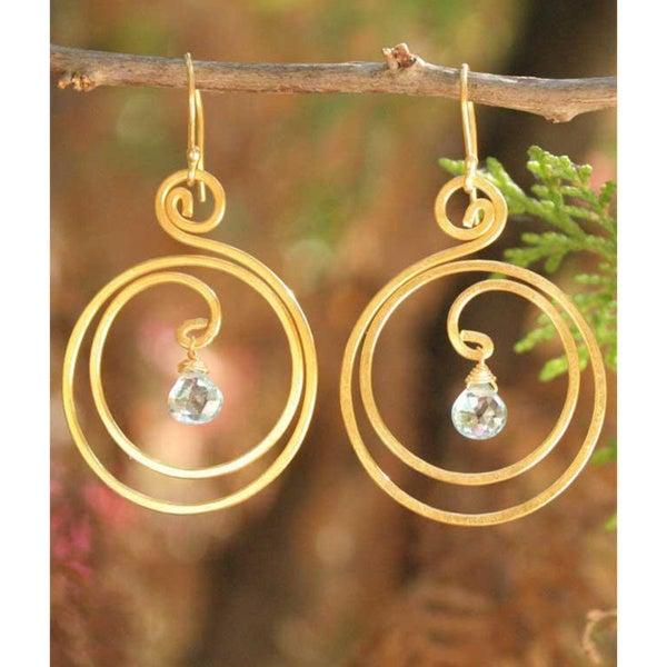 Handmade Goldplated 'Sun Dew' Blue Topaz Dangle Earrings (Thailand)
