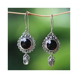 Sterling Silver 'Midnight Tears' Onyx and Labradorite Earrings (Bali)