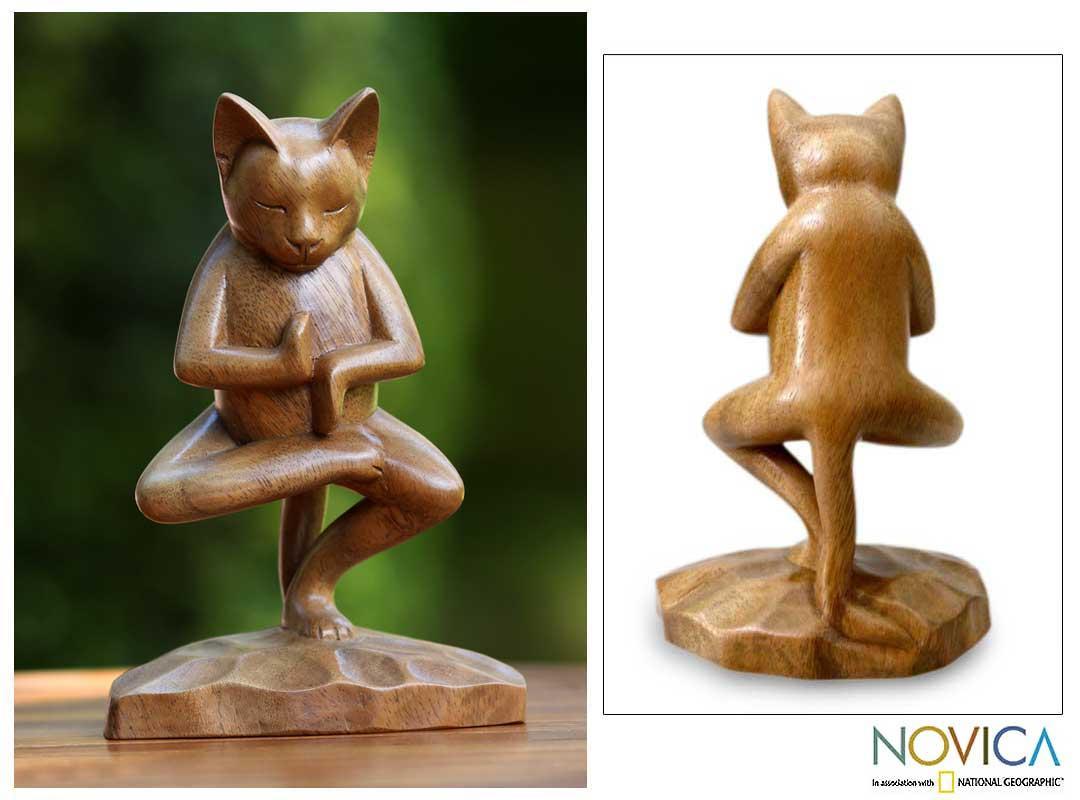 Suar Wood 'Vrkasana Yoga Kitty' Sculpture (Indonesia)