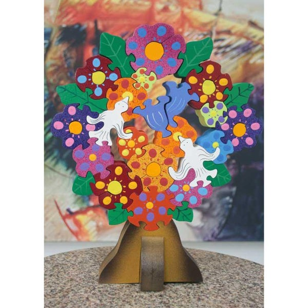 Handmade Wood 'Tree of Life' Display Jigsaw Puzzle (Mexico)