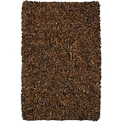 Hand-tied Pelle Brown Leather Shag Rug (2'6 x 4'2)
