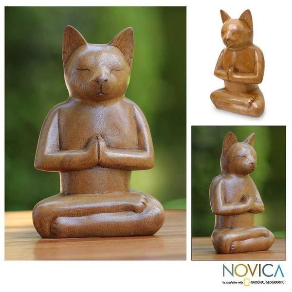 Suar Wood 'Cat In Deep Meditation' Sculpture, Handmade in Indonesia