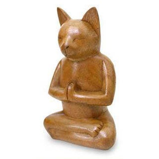 Suar Wood 'Cat In Deep Meditation' Sculpture, Handmade in Indonesia