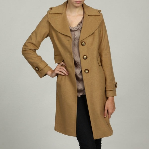 Michael Kors Women's Camel Wool Blend Single Breasted Coat - Free