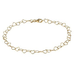 Sterling Essentials 14K Gold over Silver Adjustable Heart Link Anklet