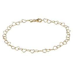 14K Gold over Sterling Silver Adjustable Heart Link Anklet