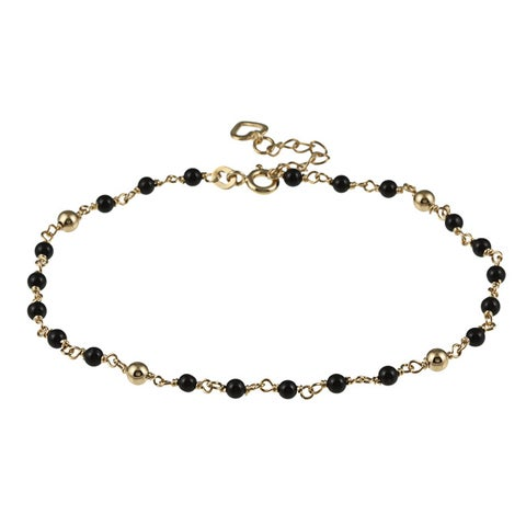 Gold Over Sterling Silver Onyx Bead Anklet