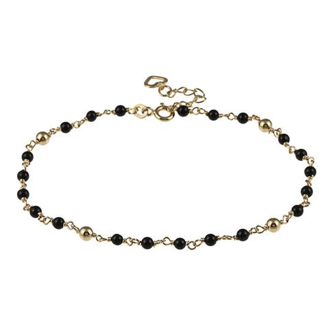 Roberto Martinez Yellow Gold Plated Silver Onyx Bead Anklet (9 Inch)