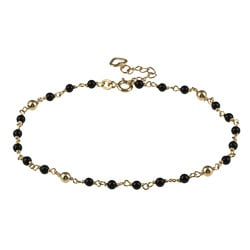 Sterling Essentials 14K Gold over Silver Onyx Bead Anklet