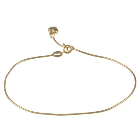 Roberto Martinez Yellow Gold Plated Silver Heart Charm Anklet (10 inch)