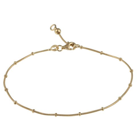 Roberto Martinez Yellow Gold Plated Silver Snake Bead Anklet (10 Inch)