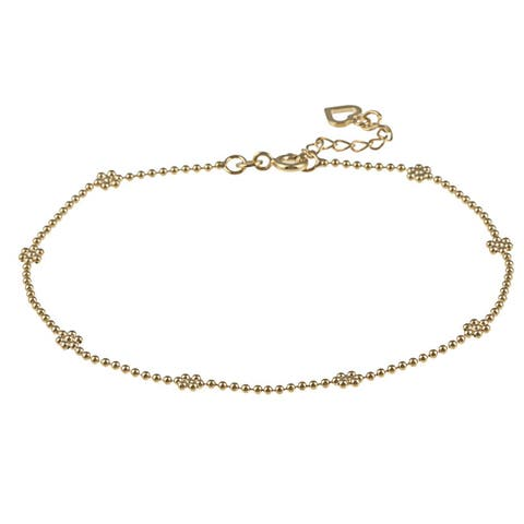 Roberto Martinez Yellow Gold Plated Silver Floral Anklet (10 Inch)