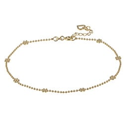 Sterling Essentials 14K Gold over Silver 10-inch Floral Anklet