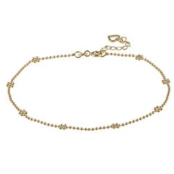 14K Gold over Sterling Silver 10-inch Floral Anklet