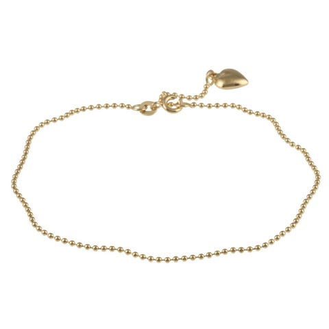 14K Gold over Sterling Silver 10-inch Heart Charm Anklet