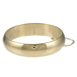 Sterling Essentials 14K Gold over Silver Polished Bangle Bracelet (15mm)