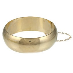 Sterling Essentials 14K Gold over Silver 7 Inch Polished Bangle Bracelet (20mm)
