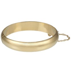 14K Gold over Sterling Silver Polished Bangle Bracelet (12mm)