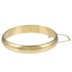 14k Gold Overlaid Sterling Silver Polished Bangle Bracelet (10 mm)