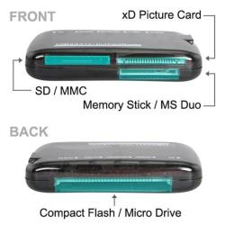 INSTEN USB 2.0 Mini All-in-One Memory Card Reader - Thumbnail 1