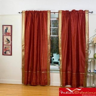 Rust Sheer Sari 84-inch Rod Pocket Curtain Panel Pair , Handmade in India