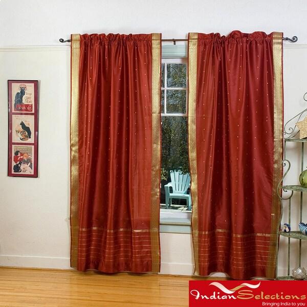 Rust Sheer Sari 84-inch Rod Pocket Curtain Panel Pair  , Handmade in India