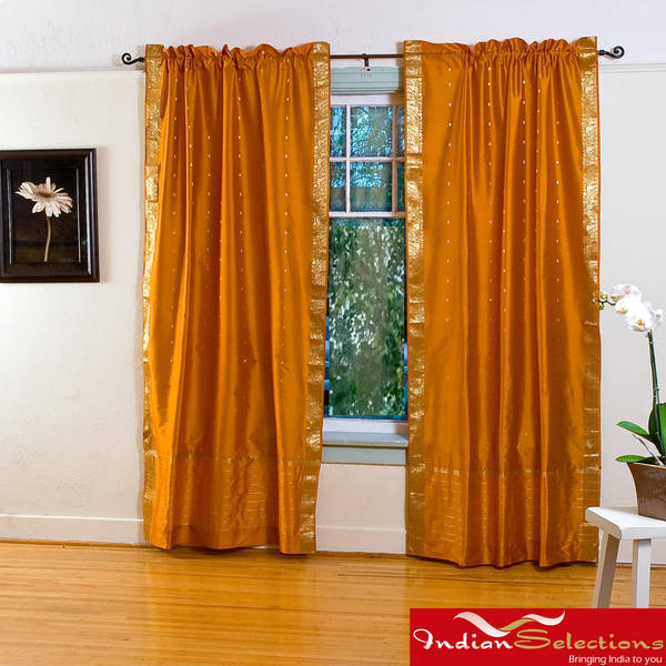 Mustard Yellow Sheer Sari 84-inch Rod Pocket Curtain Panel Pair  , Handmade in India