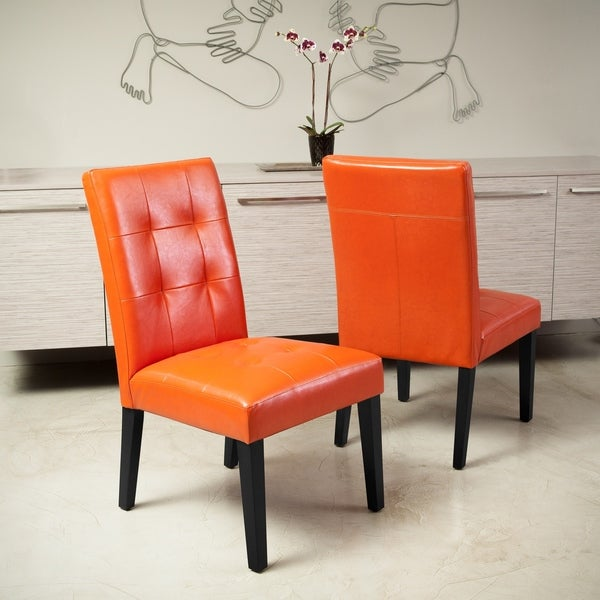 Shop Cambridge Tufted Orange Bonded Leather Dining Chair