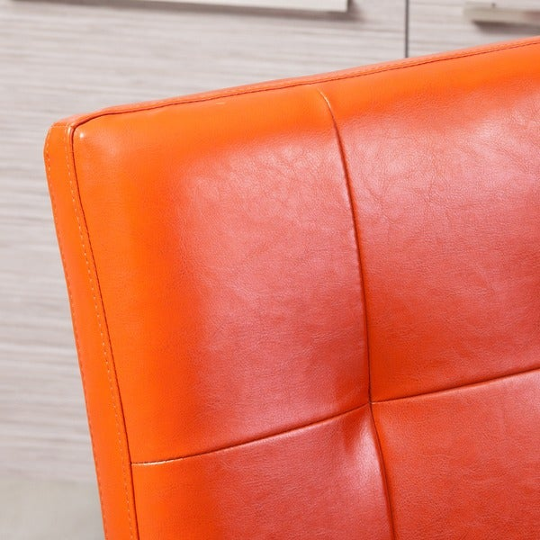 Elegant Cambridge Tufted Orange Bonded Leather Dining Chair (Set Of 2) By  Christopher Knight Home   Free Shipping Today   Overstock.com   13684651