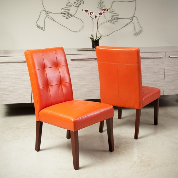 Set Of 2 Dining Room Furniture Tufted Brown Leather Dining: Shop Cambridge Tufted Orange Bonded Leather Dining Chair