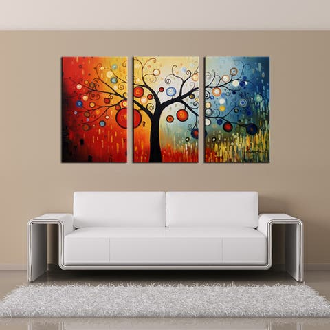 The Curated Nomad 'Life Tree V' Oil Paint 3-piece Hand Painted Canvas Art Set