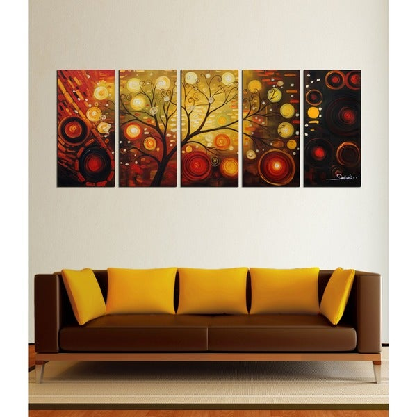 Hand Painted 'Life Tree and The Universe' Oil Paint 5-piece Canvas Art Set