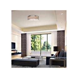 3-light Linen Shade Shining Silver Ceiling Chandelier - Thumbnail 1