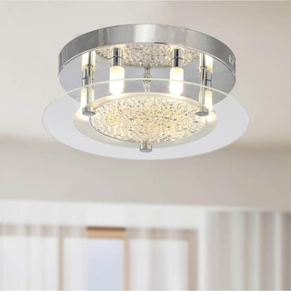 Contemporary Glass 6-light Flushmount Ceiling Chandelier