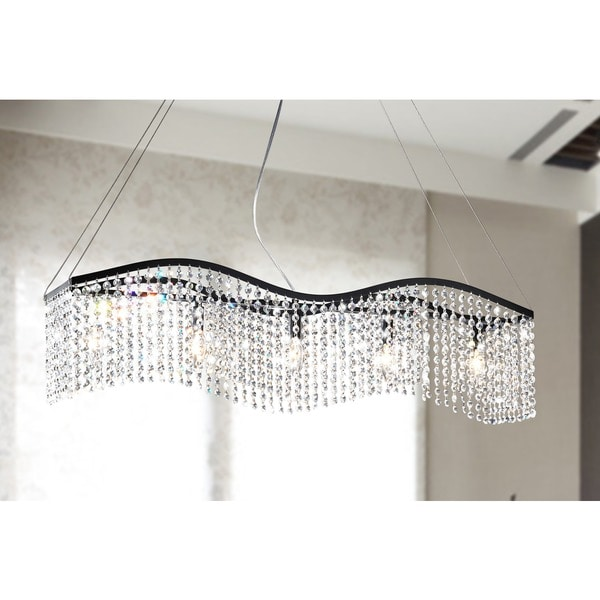 wave 5 light black and crystal chandelier black crystal chandelier lighting