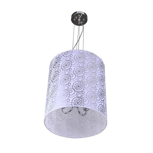 Cylinder 3-light Silvery White Shade Pendant