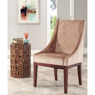 Safavieh En Vogue Dining Dark Champagne Sloping Arm Velvet Chair