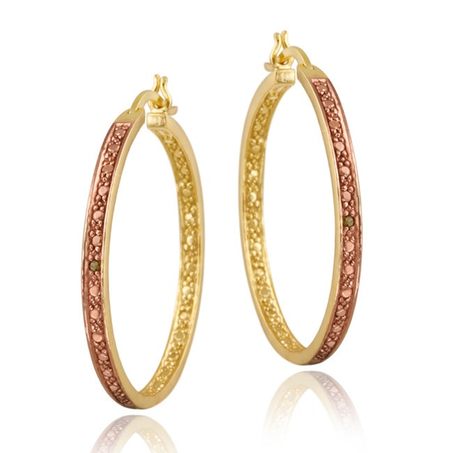 DB Designs 18k Two-tone Gold over Silver Champagne Diamond Hoop Earrings