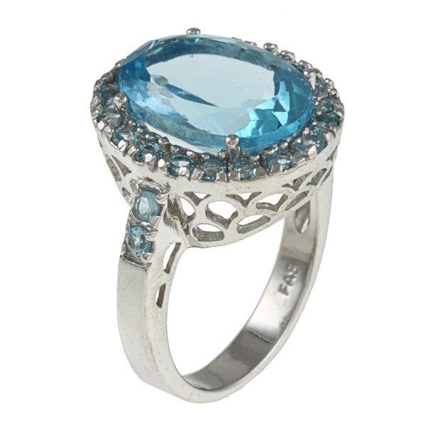 Glitzy Rocks Sterling Silver 9 CTW Swiss Blue Topaz Cocktail Ring