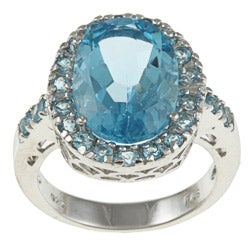 Glitzy Rocks Sterling Silver 9 CTW Swiss Blue Topaz Cocktail Ring