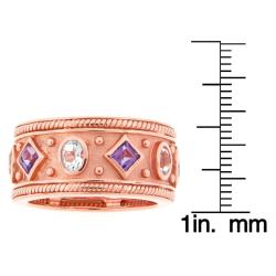 Meredith Leigh Pink-plated Sterling Silver Amethyst and Aquamarine Ring