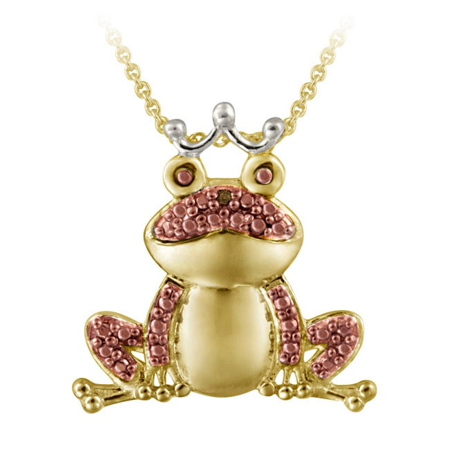 DB Designs Gold over Silver Diamond Accent Frog Necklace (I2-I3)